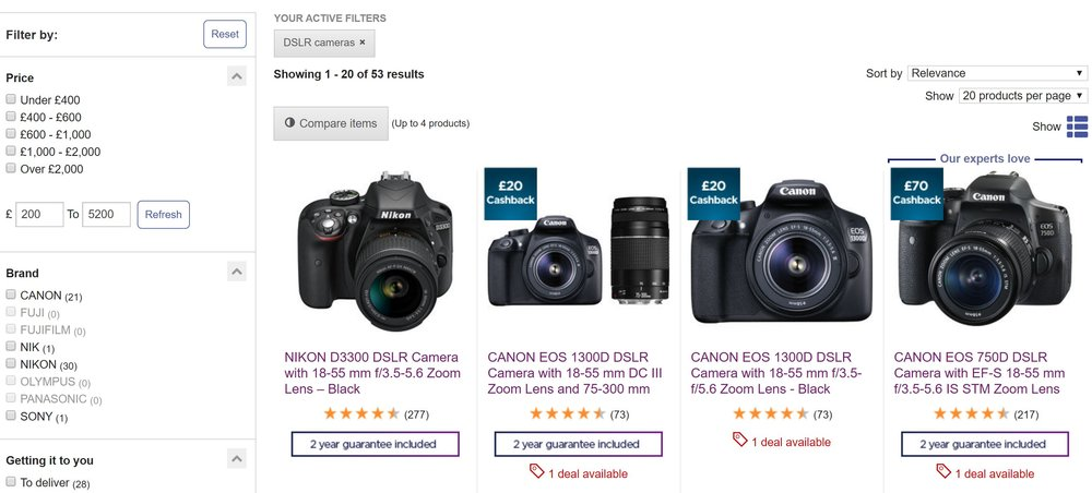 DSLR online shopping camera page