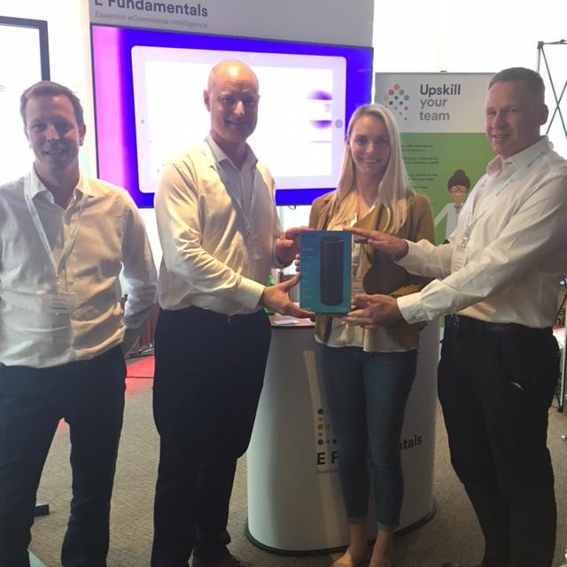 Kim Galloway, Customer Account Manager,Pernod Ricard, winning an Amazon echo