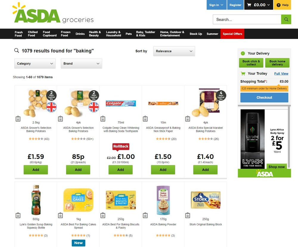 Asda search results