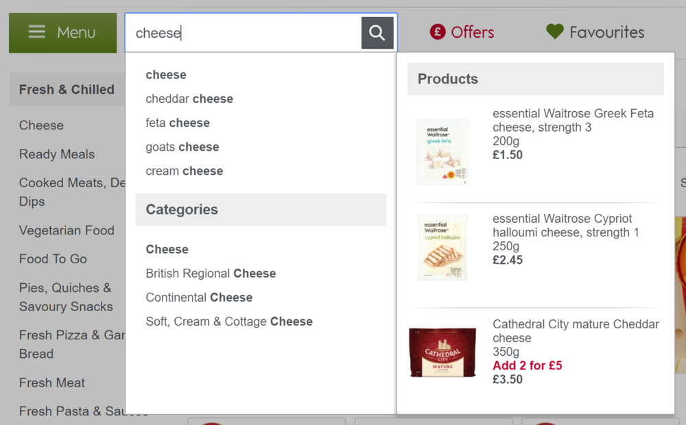 cheese search results on Waitrose.com