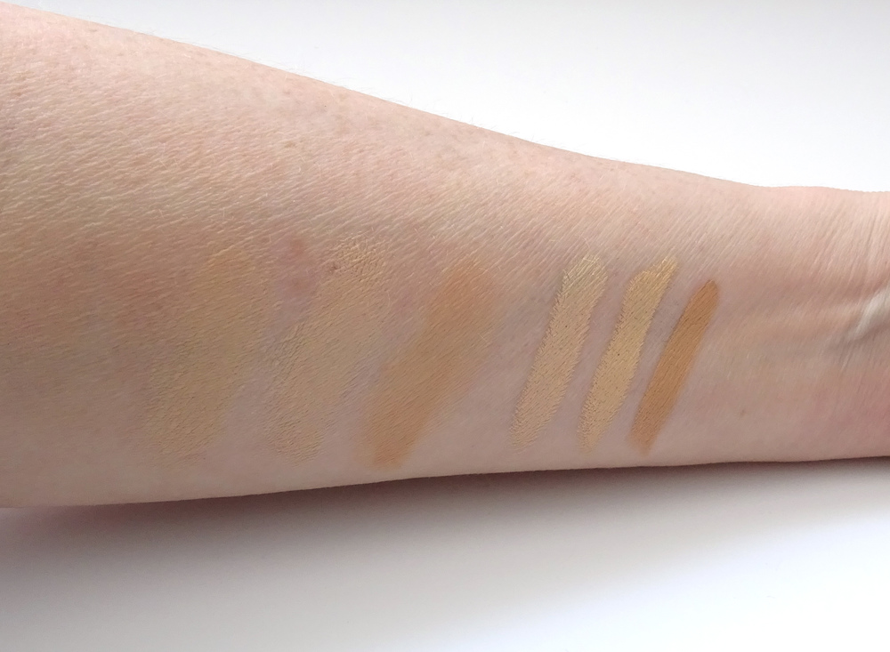 The swatches on the left are Fair, Light to Medium and Medium to Dark slightly blended, whilst the right swatches are straight from the stick.
