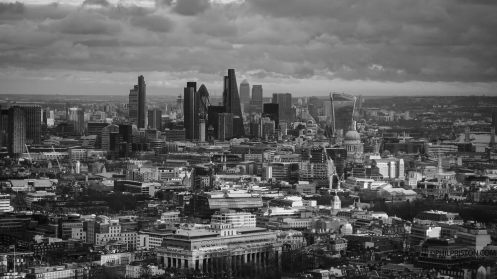 black and white central London skyline home page header image