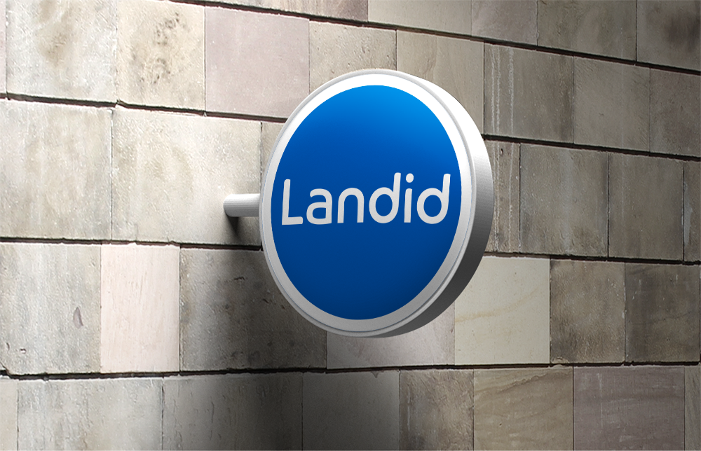 Landid branded hanging wall sign