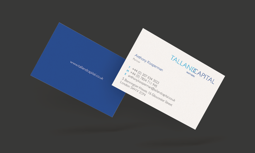 Committed to excellence S-Kape also designs the Talland Capital's business cards, continuing with the sea blue colour scheme.    The back of the business card shows Talland Capital's website printed in a white against a blue background, and the back example details with text written in grey, light and dark blue.