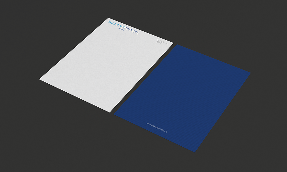 S-Kape also produced A4 custom stationary paper with the Talland's logo on the top left hand corner and second A4 sheet of paper in deep sea blue colour with Talland's website in the bottom centre.