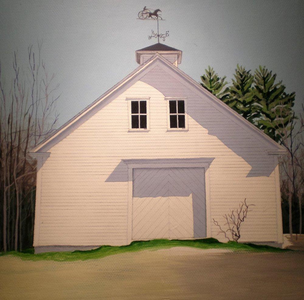"-SOLD-    Historic Barn    Acrylic on Canvas  8""x 8"""