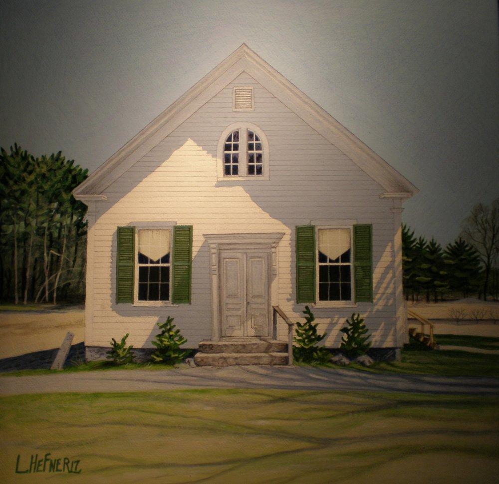 "The Church School, Ossipee, NH      Acrylic on gessoed canvas   10""x 10"""