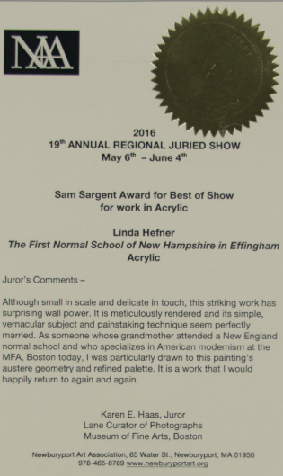 Received 'Best in Show' for The Regional Juried Show 2016 at the Newburyport Art Association.