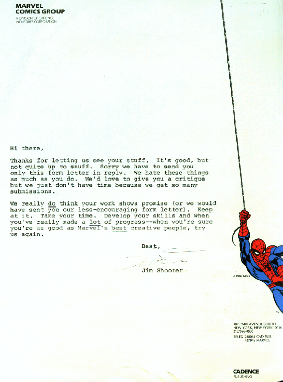 rejection letter marvel comics art jim shooter artist penciller 1985.png