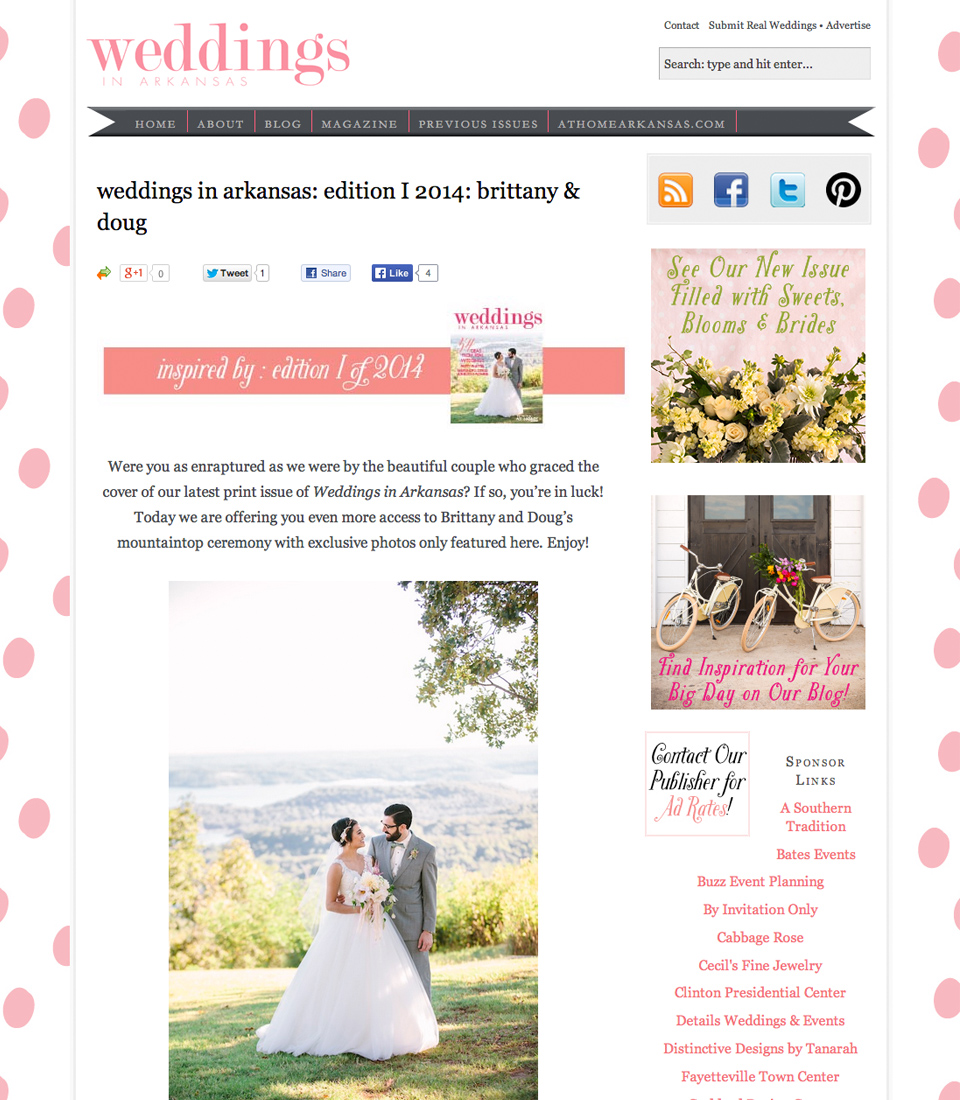 featured on Weddings in Arkansas magazine