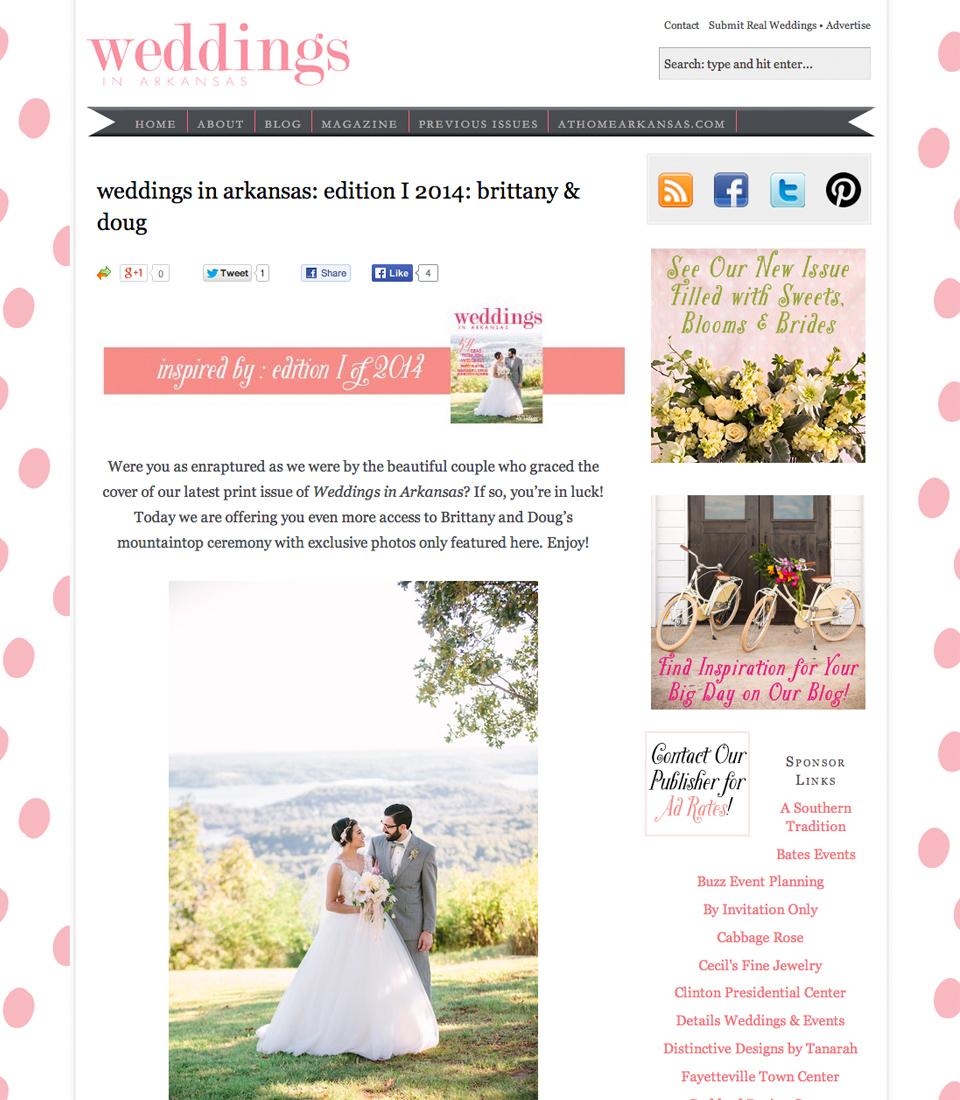 featured on Weddings in Arkansas magazine