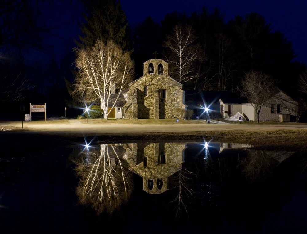 St. Andrews Church reflection at night, Tamworth, NH
