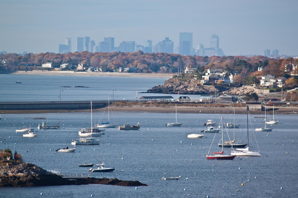Marblehead Harbor & Boston, from Marblehead Light