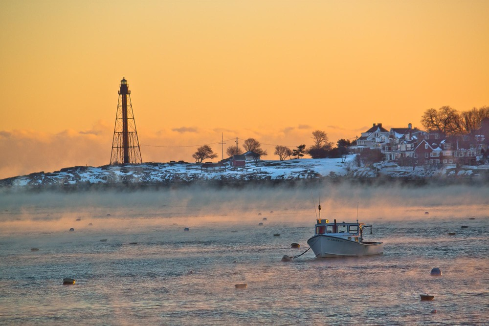 Sea Smoke / Boat in Marblehead Harbor