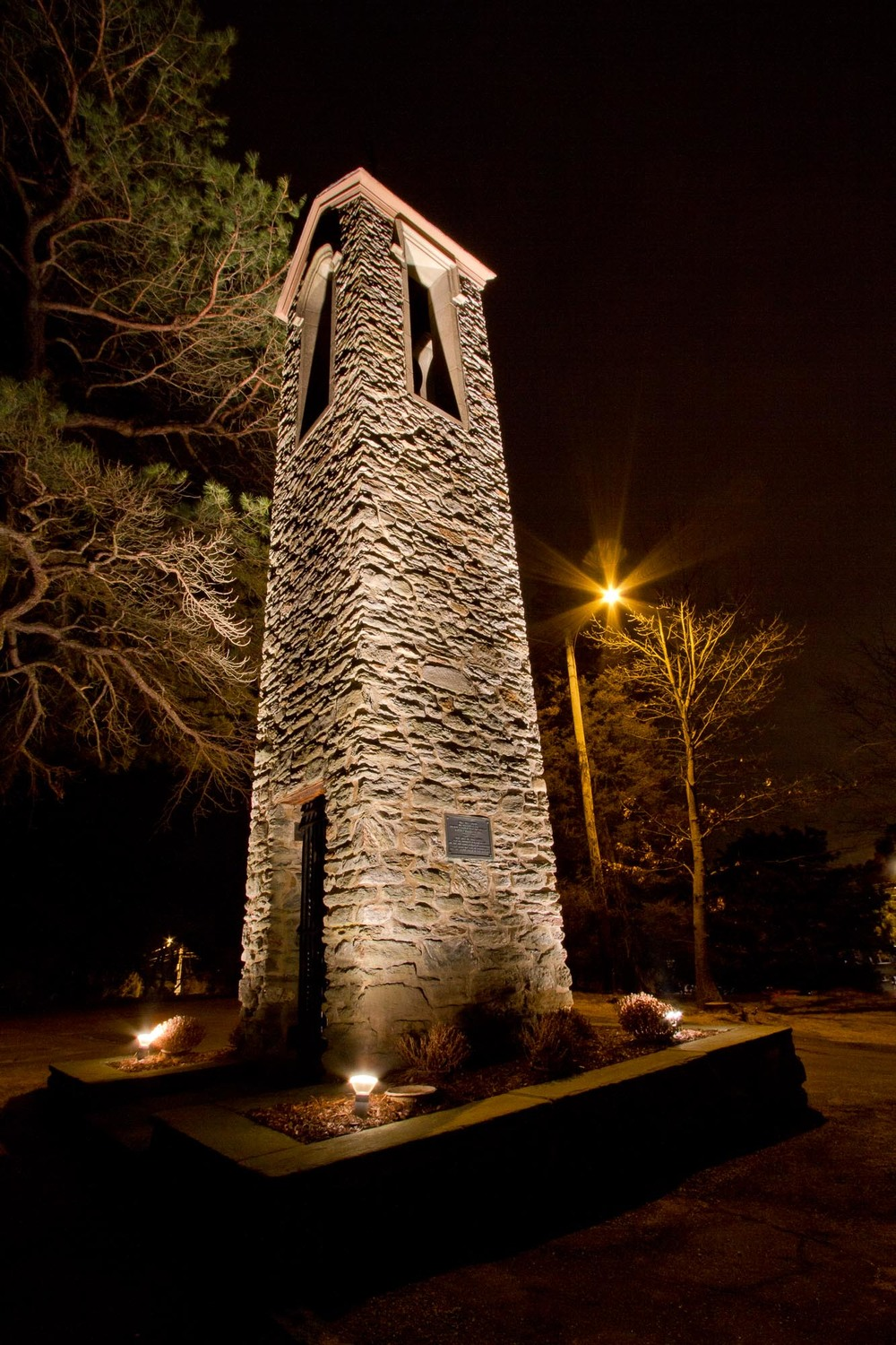 St. Andrew's Church tower at night