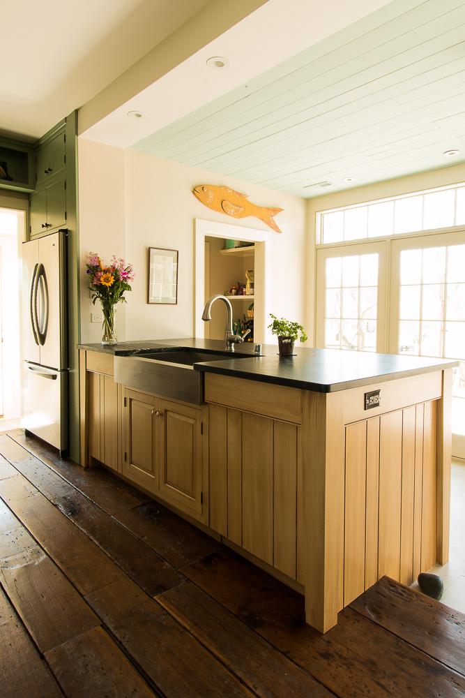 Glazed finish farmhouse style kitchen sink cabinet. Georgetown, Kentucky.