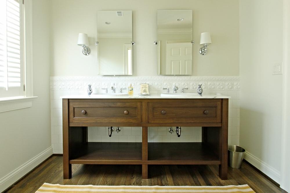 Walnut double sink vanity cabinet. Lexington, Kentucky.