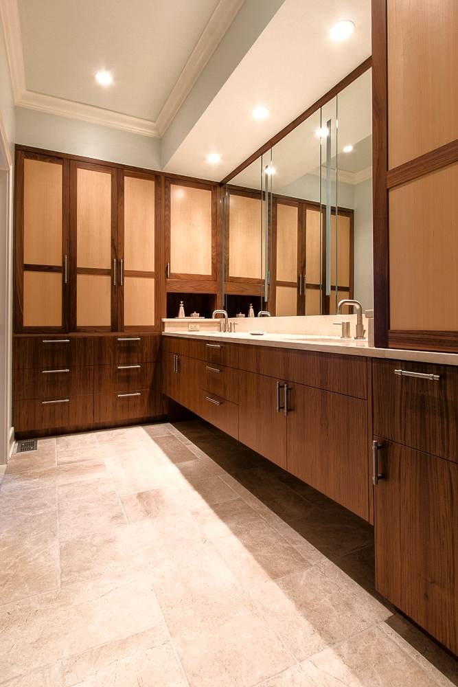 Walnut and Maple master bath vanities and storage. Lexington, Kentucky.
