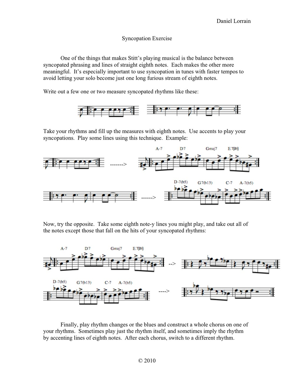 Syncopation Exercise
