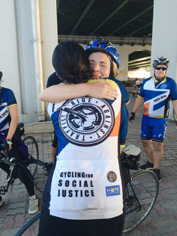 Rona and Tine, sisters in Christ, sharing a moment after completing the Ride.