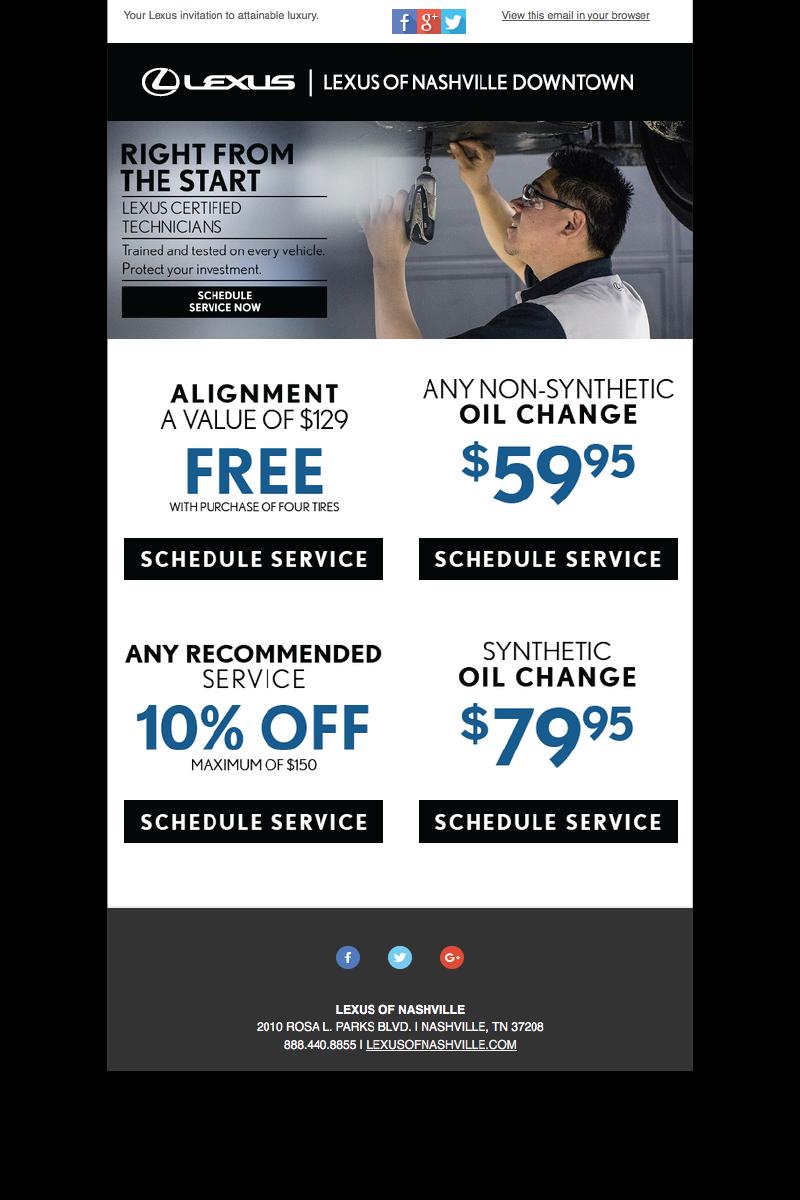 Lexus of Nashville Service Email Campaign