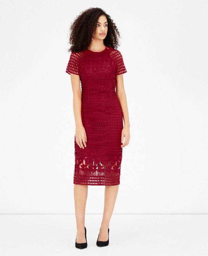 Grid Lace Pencil Dress, £99, warehouse