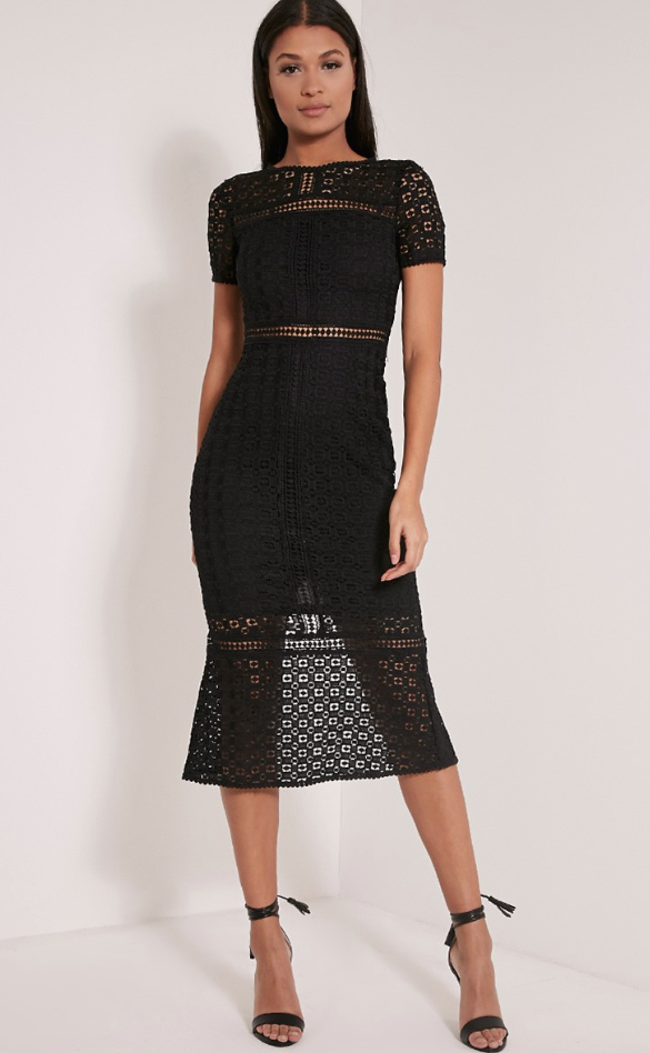 Black crochet lace midi dress, £35, pRETTY LITTLE THINGS