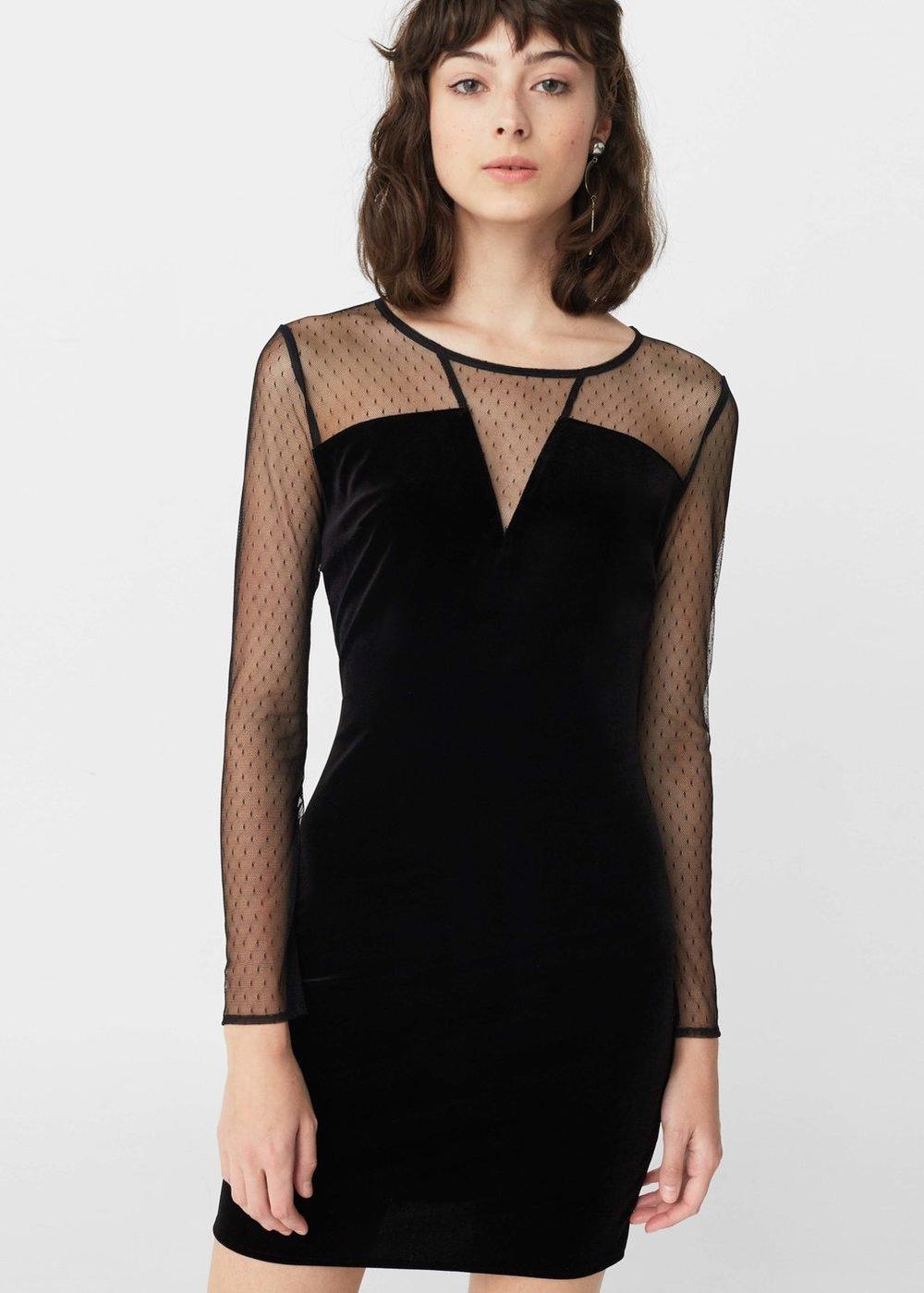 Velvet long sleeve dress, £29.99, Mango