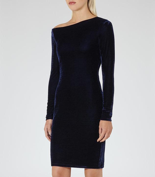 Midnight velvet dress, £150, Reiss