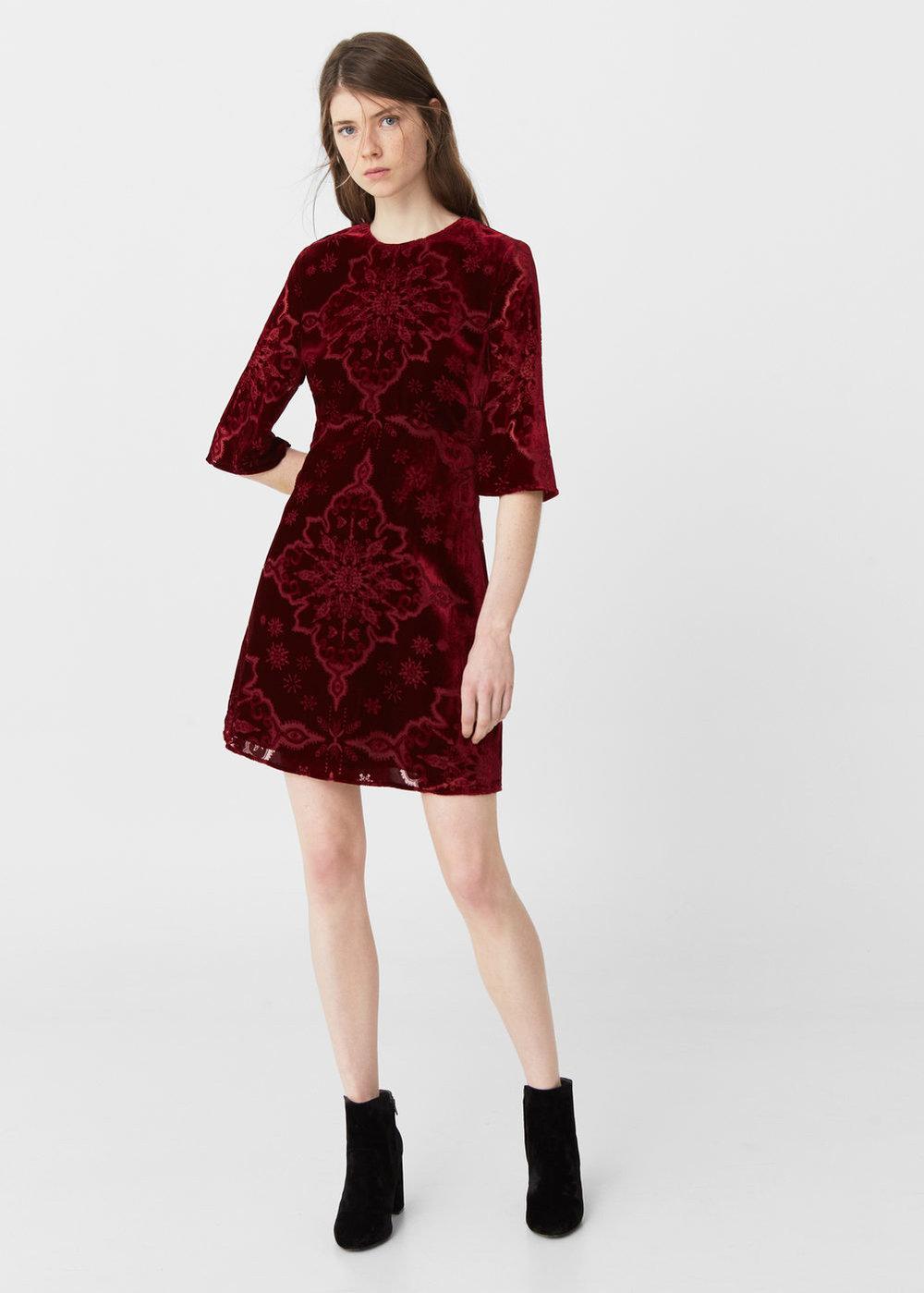 Patterned velvet dress, £69.99, Mango