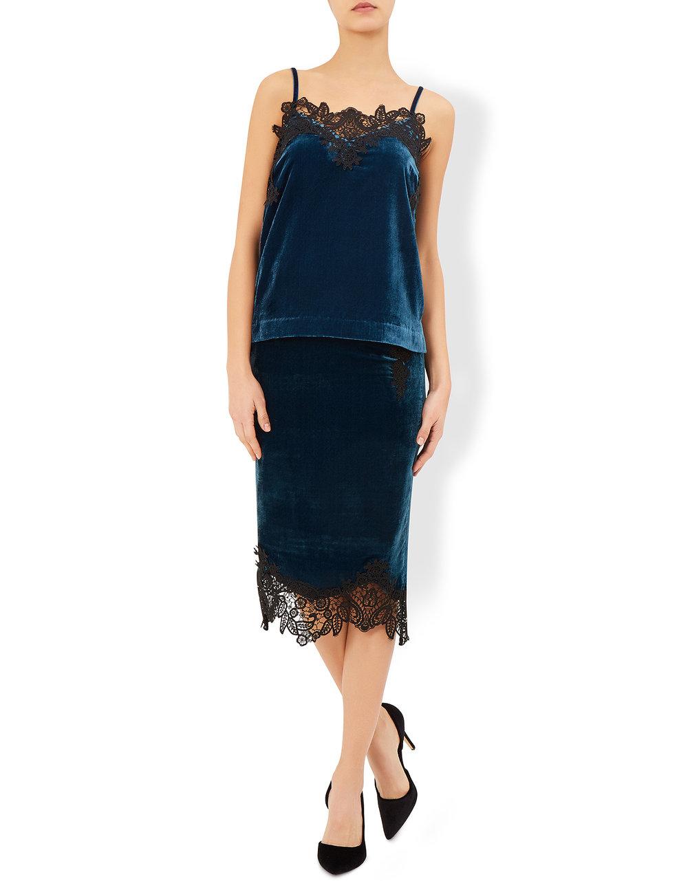 Teal Velvet skirt, £79; Top £59,Monsoon