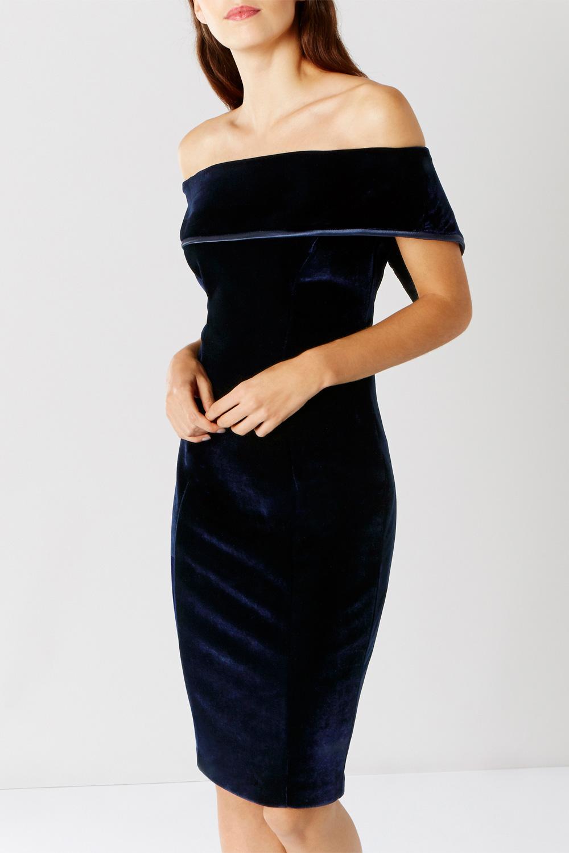 Blue bardot dress, £129, Coast