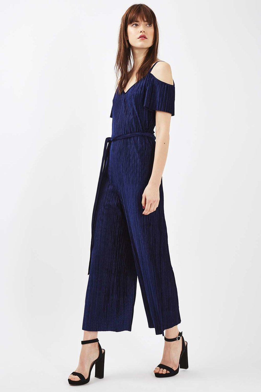 Velvet crinkled jumpsuit, £39, Topshop