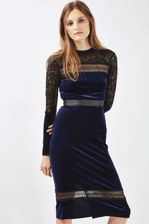 Mix lace and velvet midi dress, £59, Topshop