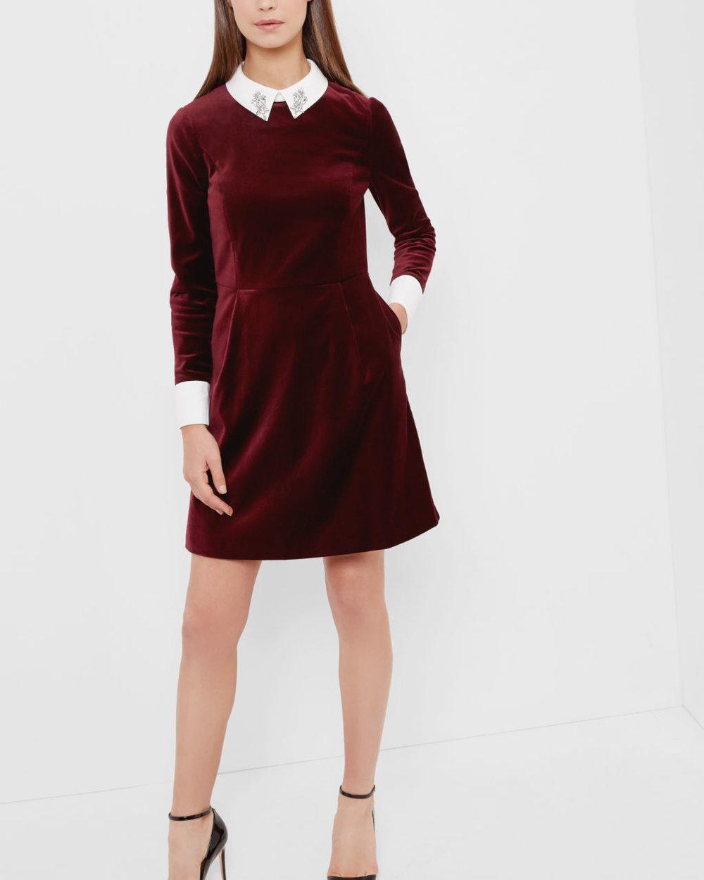 Embellished collar velvet dress, £169, Ted Baker