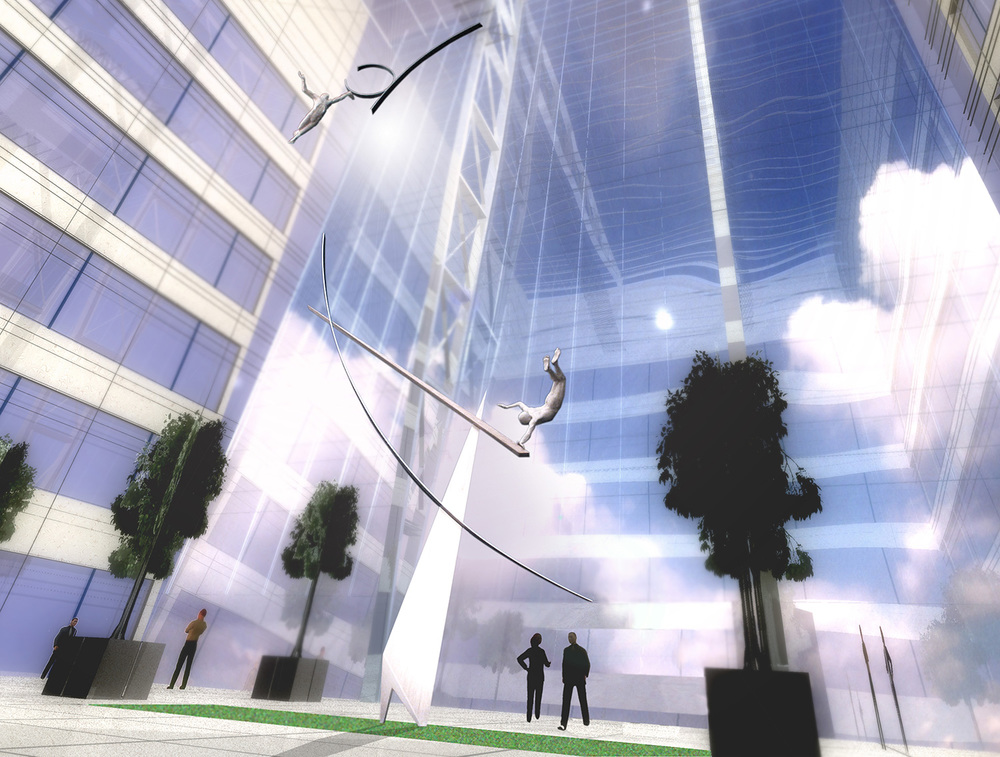 Archimedes' Dream   McGraw Hill Atrium Proposal Canary Wharf, London   24.5 metres high x 9 metres wide   Aluminium. 2002