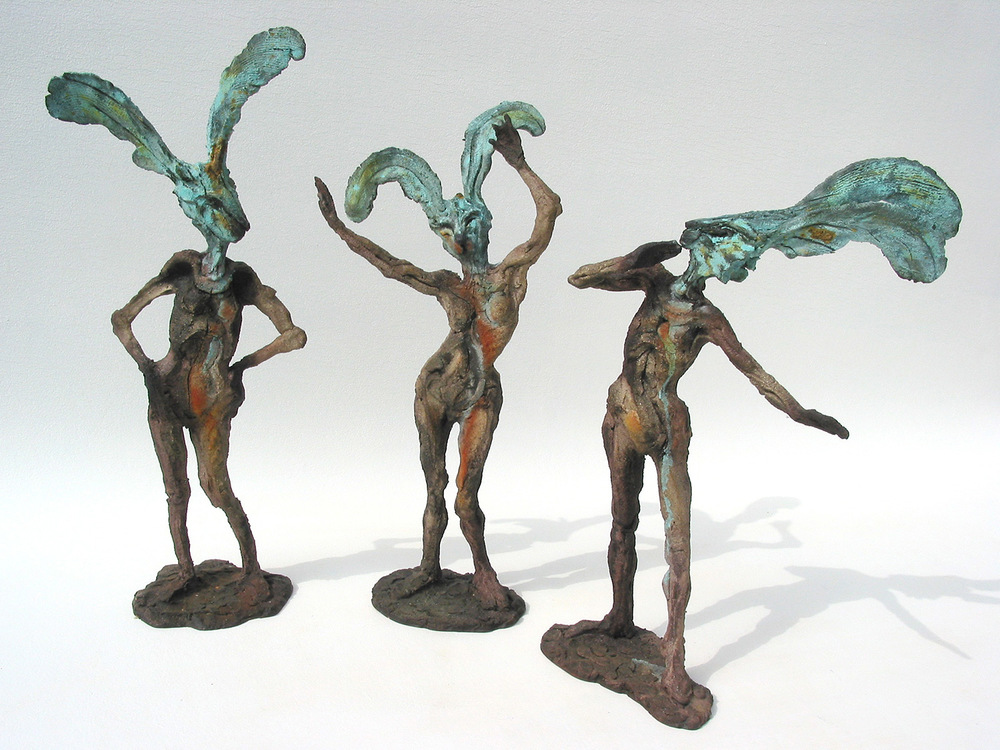 "The Three Graces   ©  47 cm high x 56 cm wide  Unique  The Graces from Greek mythology was interpreted by Mannerist sculptors in marble: ""I couldn't help parodying it in the title. A spontaneous sketch in clay."""