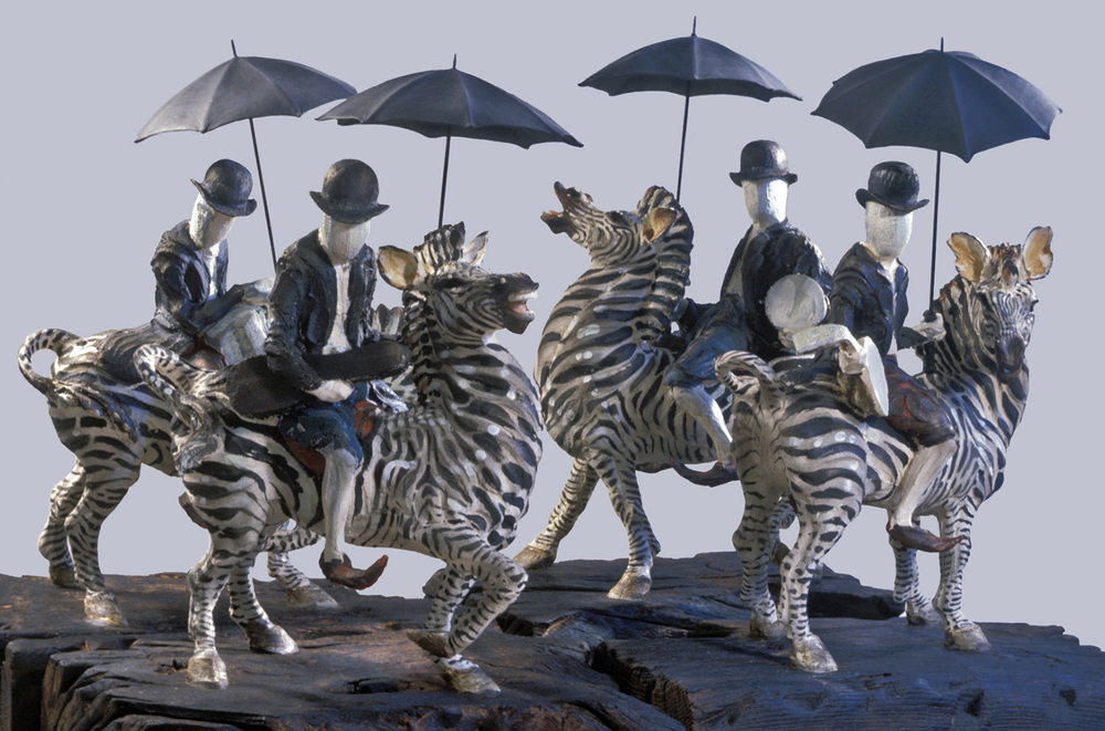 Les Troubadours du Roi Bédouin   ©  40 cm high x 80 cm wide  Unique.  Blank-faced, astride zebras, with their bowlers and brollies, sporting DJ's, anatolian slippers, instruments and violin cases; the mood is dark and troubling: will they just recite roundels or round us all up?