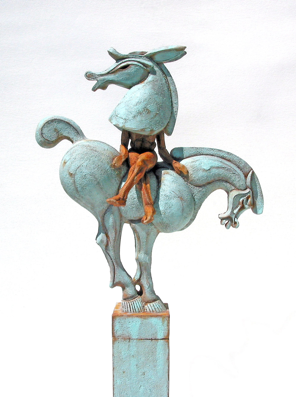 """The notion of putting a Bottom in repose, on a pedestal appealed to my sense of the absurd – making the misplaced à propos and credible.""  This work alludes to Oberon's speech to Puck in Shakespeare's Midsummer Night's Dream where Bottom's fate is sealed.  Chronologically, of course, the small- headed Tang Horse doesn't belong in this story, though somehow, it sits well together."
