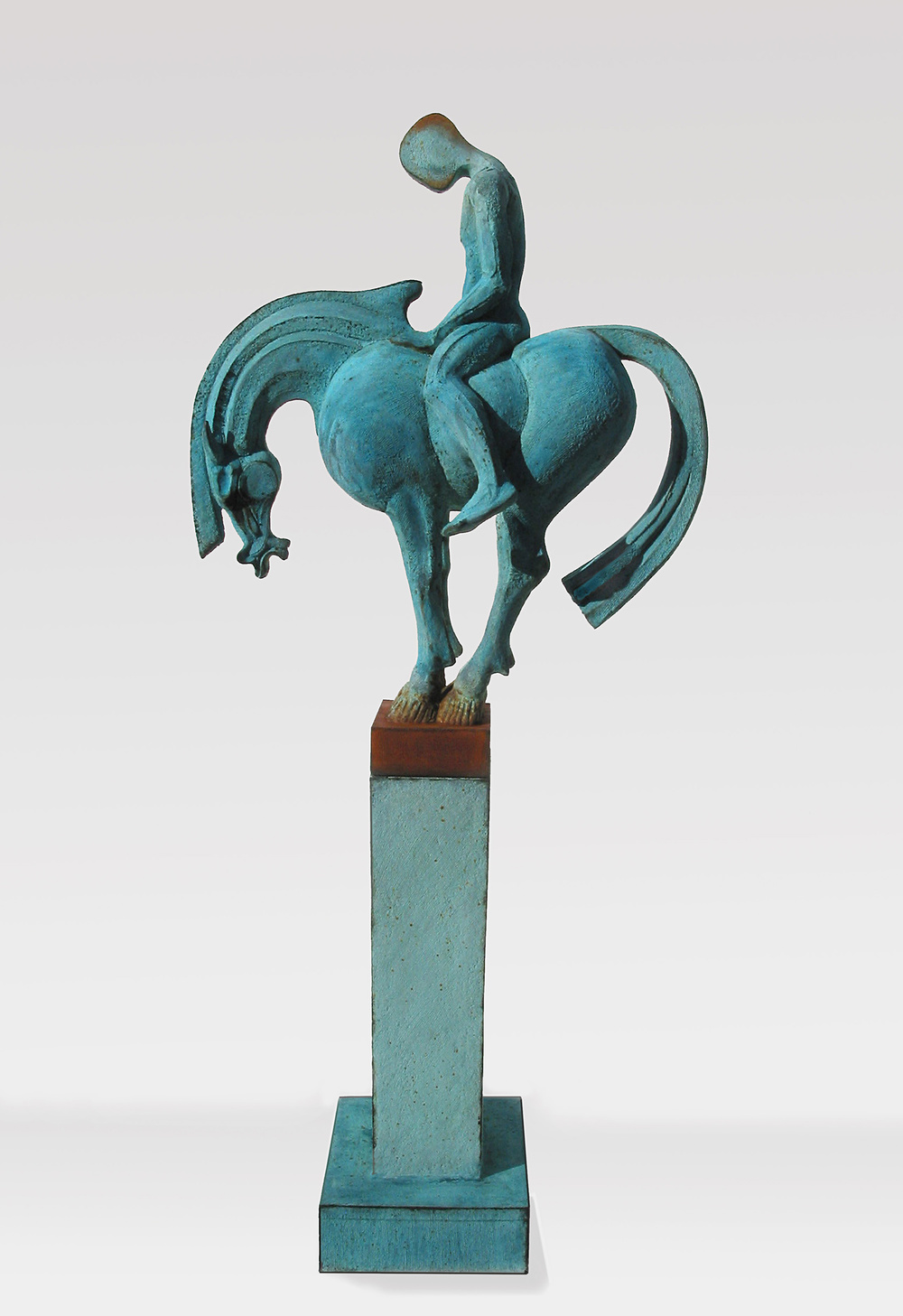 Tang Blue   ©  118 cm high x 51 cm wide  Unique  Diamantopoulo has taken the basic long-necked Tang Horse form and counter-balanced it, more or less exactly, with an atypical extended tail so that it stands precariously like a vase on a plinth – yet seems perfectly composed in the restful sense.  The horse and rider are blue - in the R&B sense.