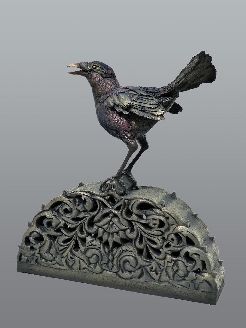 Satin Bower Bird  ©  50 cm high x 46 cm wide  Unique