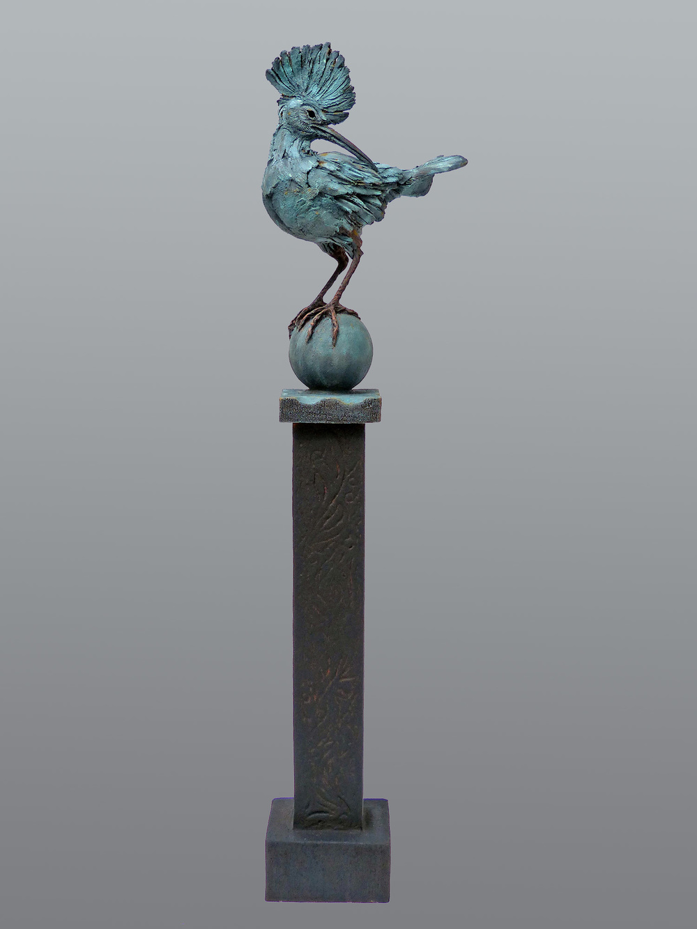 Hoopoe-on-Pole   ©  100 cm high x 26 cm wide  Unique