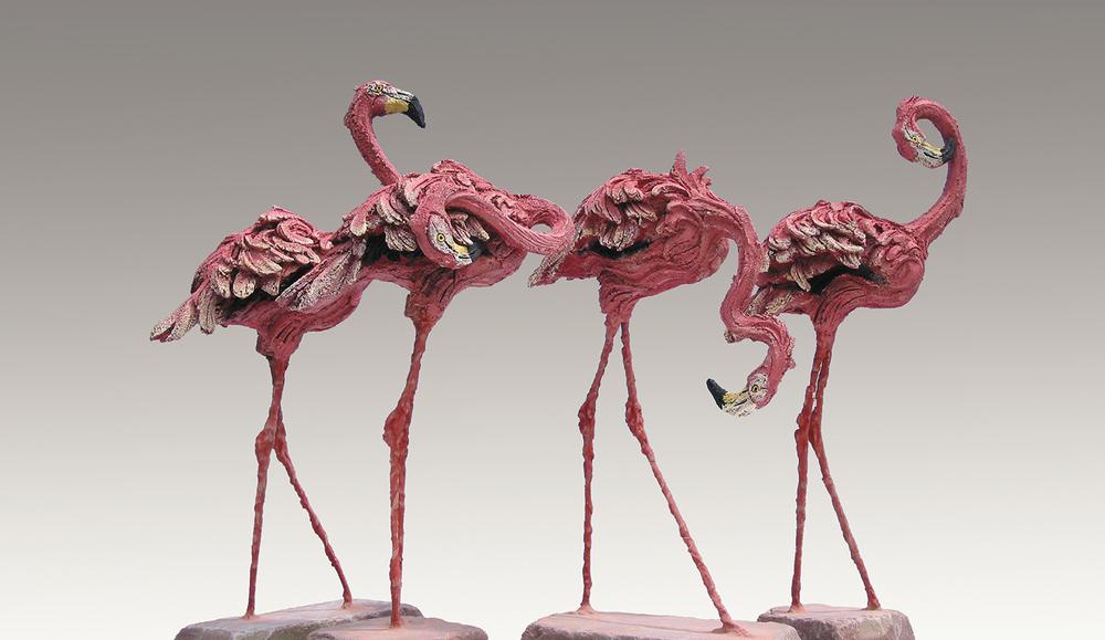 Flocking Pink  ©  63 cm high x 83 cm wide  Unique