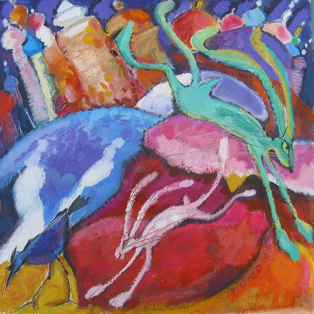 "Wassilly Hare   ©  Oil and oil pastel on fine paper  38 cm high x 38 cm wide  ""Silly and Wassily, both. The early Kandinsky influence is all too present in the landscape, and admitedly, there's also something of Chagall there..."""