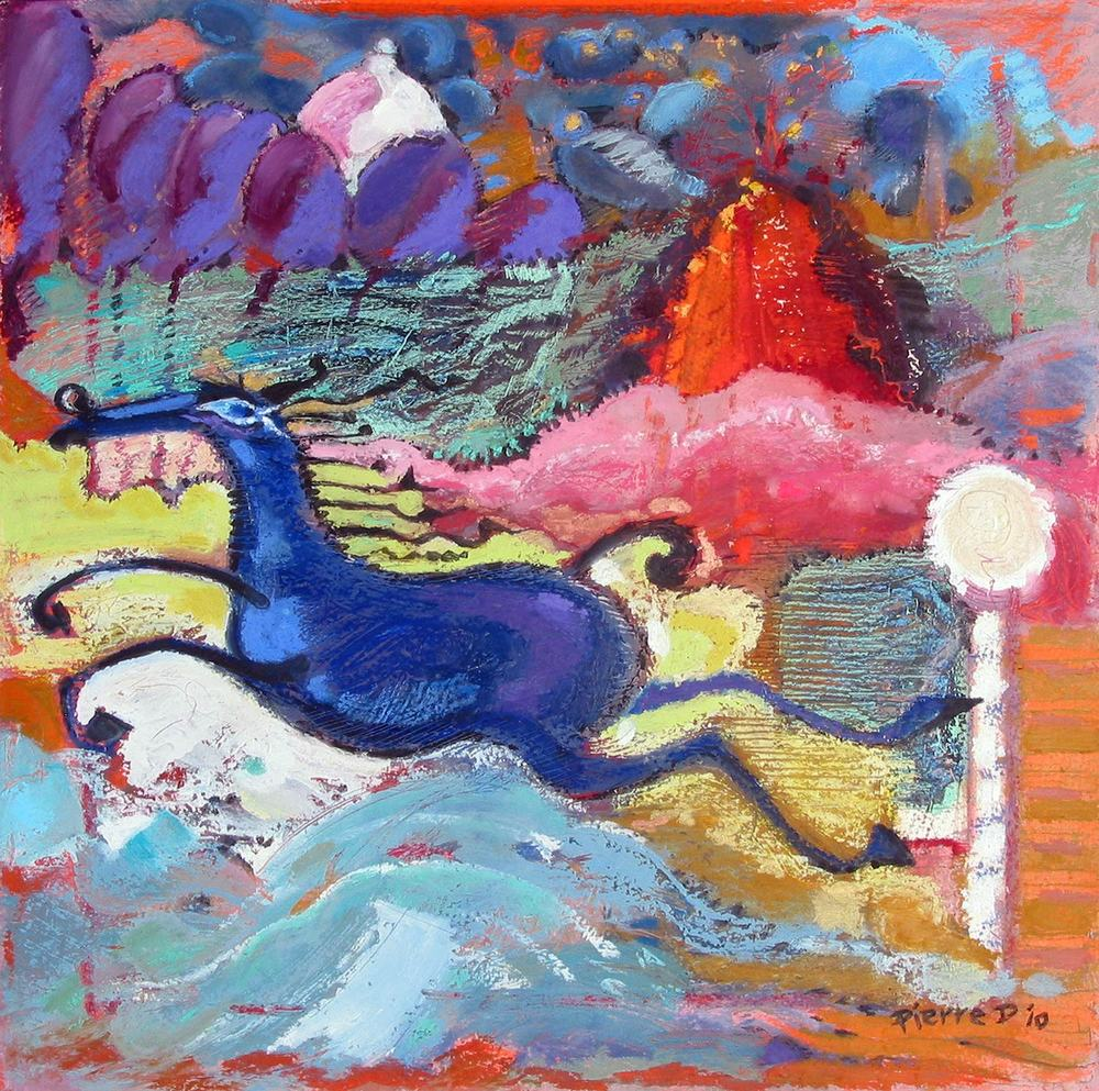 "The Blueberry Horse   ©  Oil and oil pastel on fine paper  38 cm high x 38 cm wide  ""I was taken by the blueberry bloom of the background trees and built the palette around those.  This horse bolts freely from everything I know about horse anatomy in a bid for free expression."""