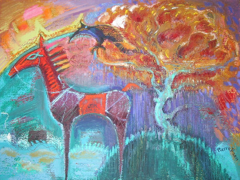 The Fish Eye Horse   ©  Oil and oil pastel on fine paper  36 cm high x 47.5 cm wide  The fish eye is both a hieroglyph and the Greek Ichthus, echoed in the eye of the watching harpy-crow which is looming ominously in the raining flame tree on the mount.  On the horizon, the curvature of the earth is lit by an atomic sunset.