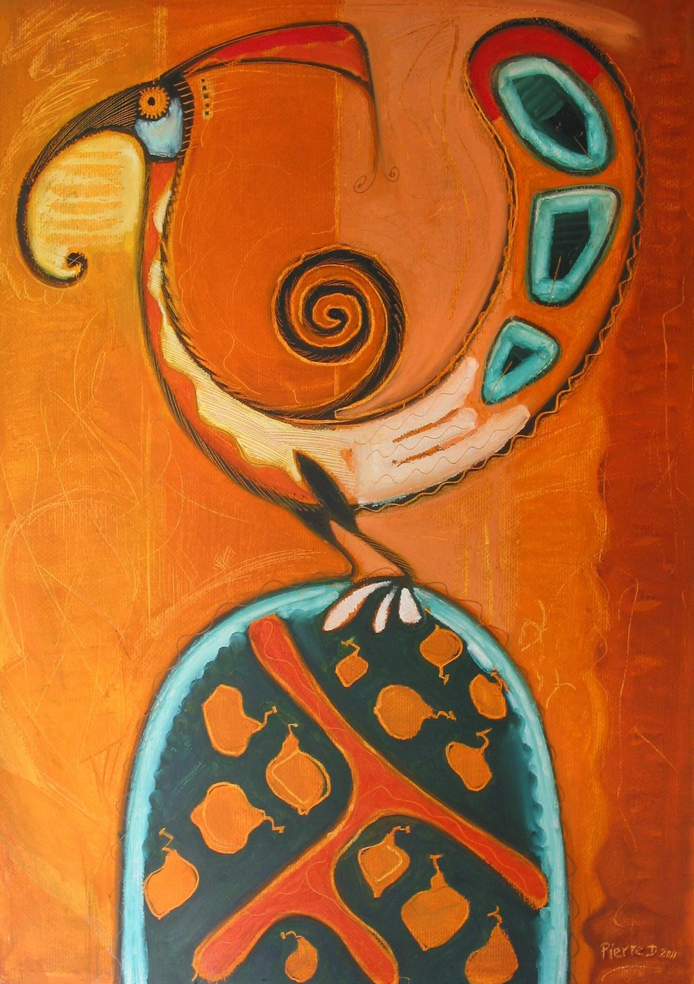 "Pueblo II Loopy-Bird   ©  Oil on fine paper  90 cmhigh x 61.5 cm wide  ""The contours of a not quite Pueblo-like design with a few more 'Cumberland Sausage' loops added, more filigrees and a robust use of oranges gave me this.  The busby-bush tree holds it all up and the figs were scraped out of the oil with a palette knife."""