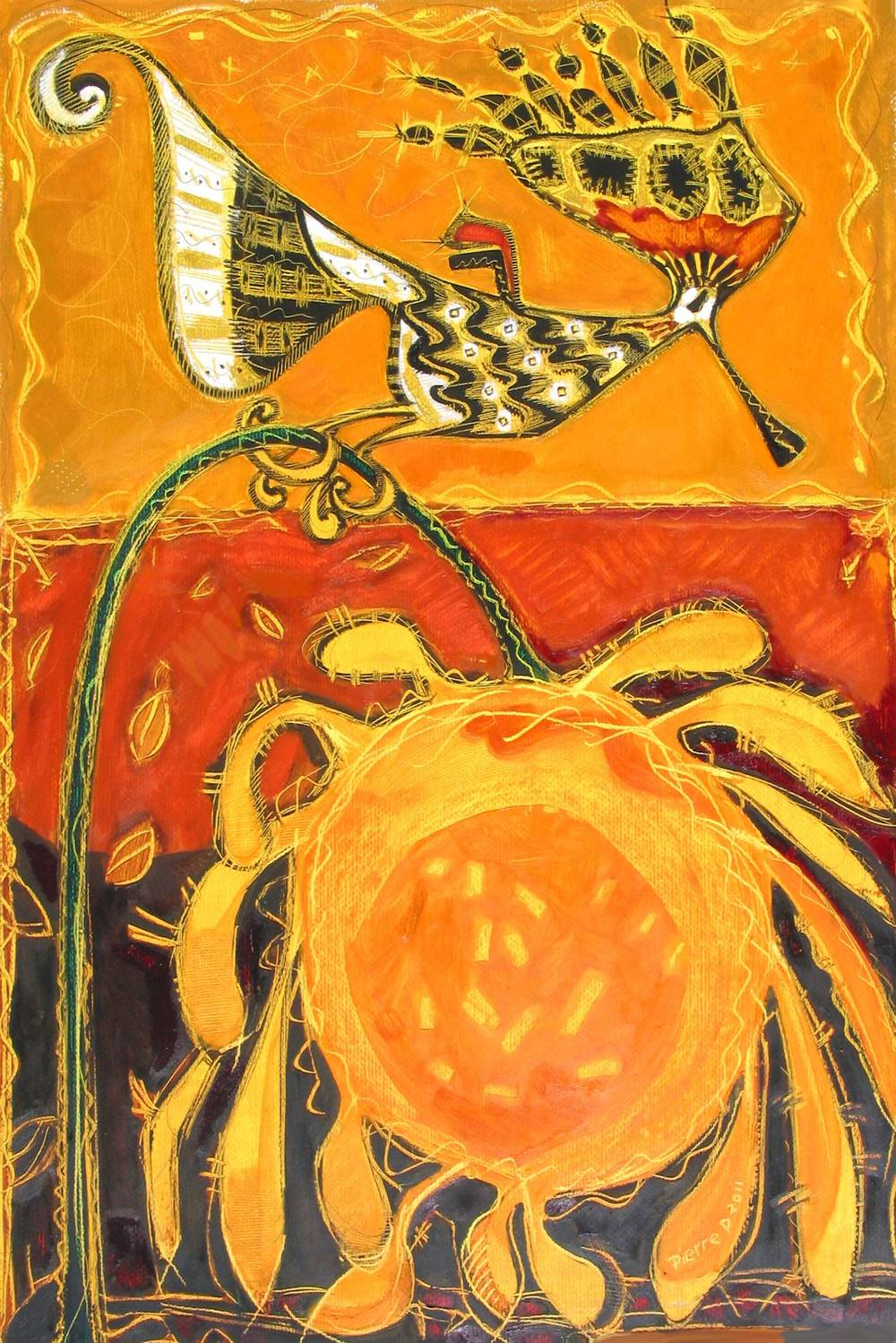 "Hoopie Gold Bird   ©  Oil on fine paper  90 cm high x 61.5 cm wide  ""I couldn't resist this title – apologies to the Hoopoe Bird. This batik-like image turned out to have the striking colours that Nigerian women have on their gowns.  The sunflower is very freely done. The Hoopoe Bird was often depicted on Egyptian tomb walls."""