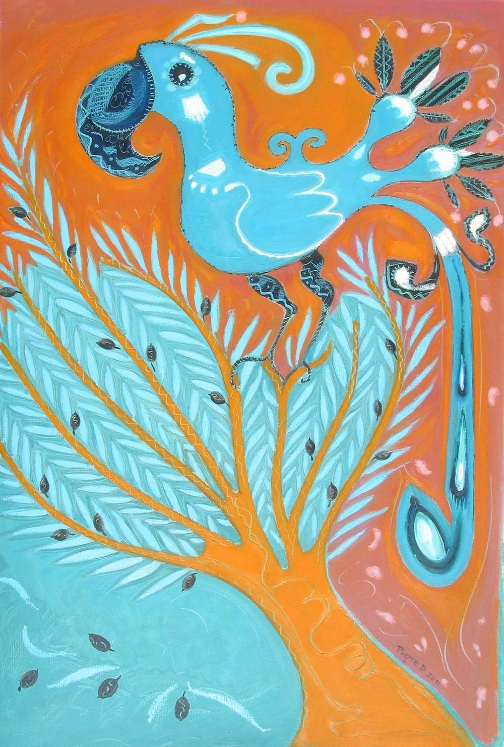 "Pueblo lll The Norwegian Blue   ©  Oil on fine paper  90 h x 61.5 w   ""I enjoyed using a Pueblo inspired design and twisting the feathers out of it. Even more fun to me is the inference that the ancient Pueblo people live happily somewhere on a Monty Python cloud with The Choir Invisible, alongside the expired Norwegian Blue.  No surprise then that the tree is the sacred Ished-tree of Heliopolis."""