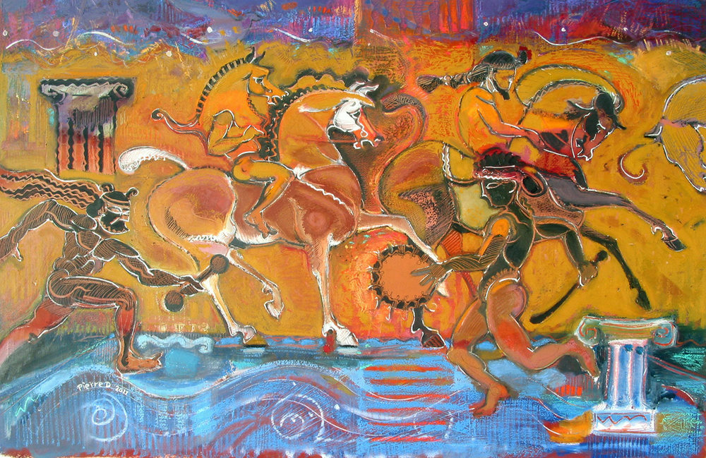 Pandemonium   ©  Oil and oil pastel on fine paper  61 cm high x 91 cm wide  A Greco-Roman Bacchanalia, or a scene in Pandemonium – the city of darkness in John Milton's epic poem 'Paradise Lost'.  The image is a chaotic parade of circus acts and acts of war.